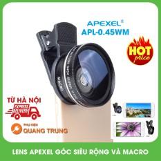 Bộ ống kính lens Apexel chụp ảnh cho điện thoại 2 in 1 góc rộng và macroapl-0.45wm, cam kết hàng đúng mô tả, chất lượng đảm bảo, an toàn cho người sử dụng