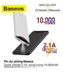 Pin sạc dự phòng Baseus 10000mAh Siêu mỏng Có màn hình LED báo hiệu tình trạng pin Sạc nhanh 2 cổng USB Thích hợp cho mọi thiết bị di động Màu đen