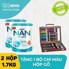 [FREESHIP] Bộ 2 lon sữa bột Nestle NAN Optipro 4 HM-O 1.7kg cho trẻ trên 2 tuổi + Tặng 1 bộ chì màu hộp gỗ trị giá 400K – Cam kết HSD còn ít nhất 10 tháng