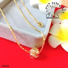 Dây chuyền mạ vàng 24k dạng mì xoắn mặt hạt charm xoắn khía đính đá thiết kế cao cấp Orin D4444