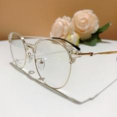 Gọng kính cận nữ Hàn 2736 kính nửa viền mỏng bảo hành 12 tháng gọng tròn bầu trong suốt nhựa dẻo kính trắng giả cận