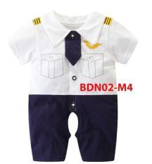 Bộ áo liền quần ngắn tay dễ thương cho bé 0 – 12 tháng BDN02