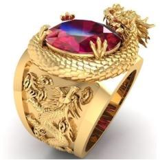 Nhẫn nam rồng vàng đính đá đỏ quý phái