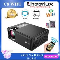 máy chiếu mini WIFI Cheerlux C8 HD 1280×720, kết nối không dây với điện thoại iphone, Android. Phù hợp thay thế tivi giá rẻ 100′ trong phòng ngủ.