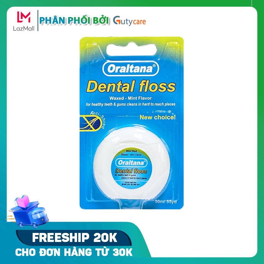 Chỉ nha khoa Oraltana đa sợi cuộn dài 50m hương bạc hà - vỉ 1 cuộn giúp vệ sinh răng...