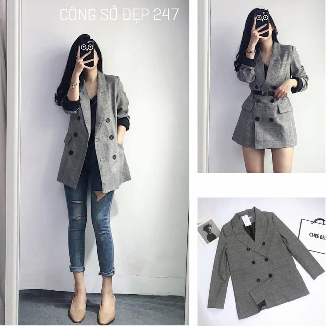 Áo vest nữ, áo blazer nữ kẻ xám 2 lớp cao cấp