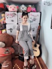 đồ bộ nữ đẹp,mẫu lửng kiểu babydon caro cổ vuông, vải lụa hàn, thích hợp mặc nhà, đi dạo