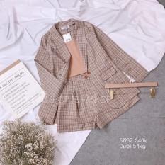 Set Vest Bộ 3 Món Caro Bố Kèm Áo Trong Thun Pozip Xinh Đẹp Công Sở & Dự Tiệc. Kèm Clip Shop Quay Thật-QC39