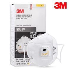 Hộp 25 cái khẩu trang 3M 9001V chống bụi mịn , có van lọc mùi hôi kháng khuẩn