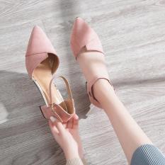 Giày cao gót vuông bảng xếp bít mũi sành điệu