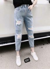 Quần Jeans Nữ Rách Gối Cao Cấp OHS3081