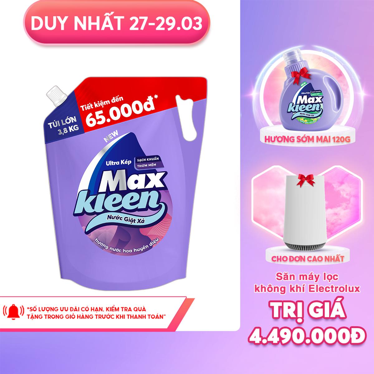 Túi Nước Giặt Xả Maxkleen Hương Nước Hoa Huyền Diệu (3.8kg)