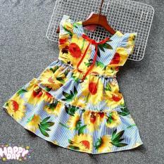 Váy đầm bé gái sọc xanh hoa hướng dương