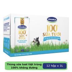 Thùng 12 hộp Sữa tươi tiệt trùng Vinamilk 100% Không đường 1L