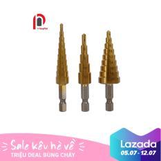 Bộ 3 mũi khoan bước tháp titanium 3-20mm (Vàng) /Mũi khoan bê tông/Mũi khoan khoét lỗ