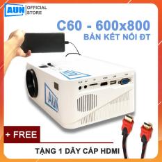 Máy chiếu mini AUN HD C60 – Độ phân giải thực chuẩn HD – Kết nối điện thoại, laptop – Công suất 60w