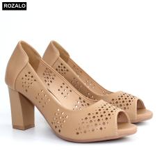Giày nữ cao gót 7P đục lỗ hình quả trám hở mũi Rozalo R6100