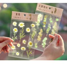 Sticker HOA LÁ TRONG SUỐT nông trại Mây trang trí sổ, album, nhật ký, lưu bút
