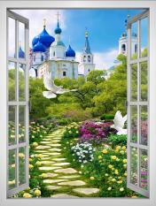 Tranh dán tường cửa sổ khổ dọc 3D VTC Cảnh đẹp lâu đài VT0393-D Kim sa