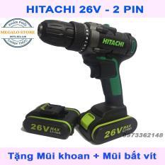 Máy Khoan Pin HITACHI 26V, Khoan, Bắt Vít Có 2 PIN Tặng Kèm Mũi Bắt Vít 4 Cạnh Có Nam Châm