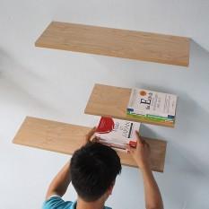 }Kệ gỗ treo tường 3 thanh ngang 40,50,60 x 15 cm (chọn màu)
