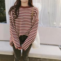 Áo len sọc ngang oversize Hàn 2 màu