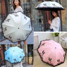 Dù viền ren hình bướm , chiếc dù nở hoa thần kỳ chống tia UV gấp gọn che mưa che nắng hữu hiệu , Ô dù che mưa che nắng