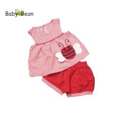 Đồ Bộ Caro Thêu Ong Quần Short Màu Bé Gái BabyBean (8kg-30kg)