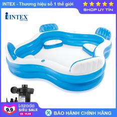Bể bơi phao bơm hơi Salon INTEX 56475, hồ bơi 2 tầng, kích cỡ lớn, phù hợp cho cả gia đình hoặc 3 – 4 bé cùng thư giãn, 4 ghế ngồi có tựa lưng êm ái – Chính hãng INTEX, Bảo hành 12 tháng