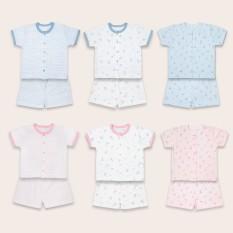 Bộ quần áo Miomio ngắn tay cài giữa 100% cotton mỏng mát