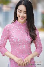 Bộ áo dài truyền thống họa tiết hoa nhí hồng (Cổ 2cm tay lỡ)