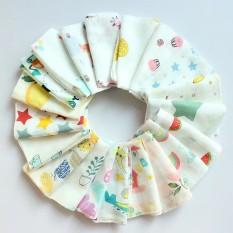 SET 10 chiếc khăn sữa aden sợi tre kèm túi lưới, đồ dùng cho bé, an toàn cho bé, dụng cụ vê sinh cho bé, Huy Linh