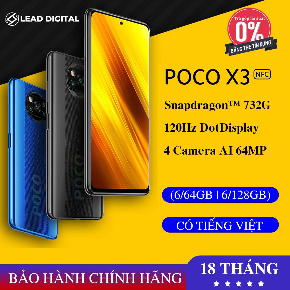 [BẢN QUỐC TẾ] Điện thoại Xiaomi POCO X3 NFC 6G/64GB | 6G/128GB – FULL TIẾNG VIỆT, Snapdragon 732G 8 nhân (7nm), Màn hình 6.67″ IPS 120Hz, Pin 5160 mAh sạc nhanh 33W, Camera 64MP, LiquidCool Technology 1.0 Plus – BH CHÍNH HÃNG 18 tháng