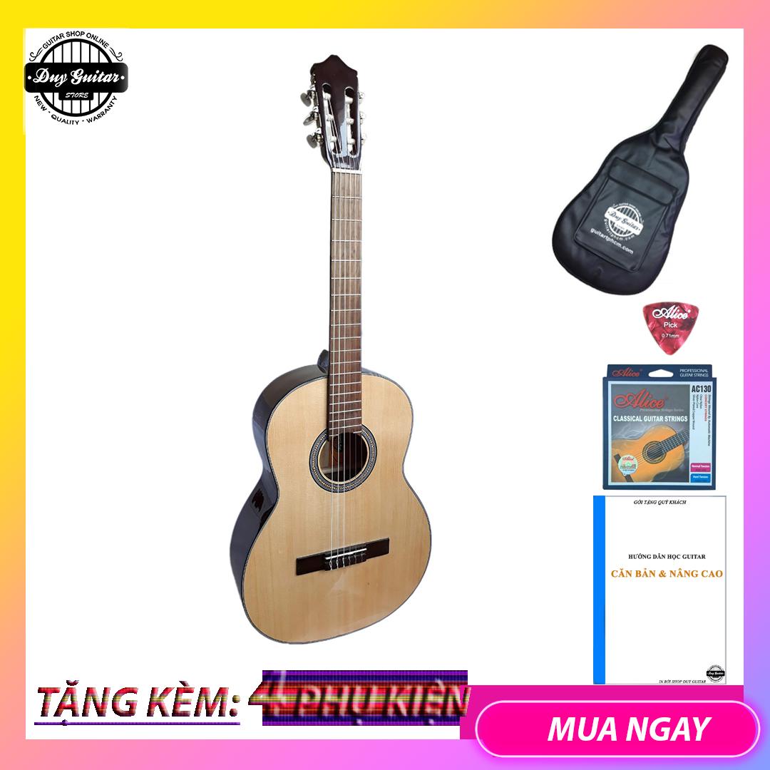 Đàn guitar classic size lớn có ty DC120 NAT ghitar cổ điển cho âm ấm áp cần đàn thẳng và action thấp êm tay- Duy Guitar Store