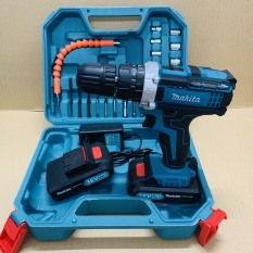 Máy khoan pin 36V Makita 3 chức năng có búa – Tặng kèm 24 chi tiết gồm các mũi khoan + Mũi bắt vít – Kèm theo 2 pin