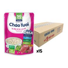 1/2 Thùng Cháo tươi Baby Sài Gòn Food Bò & Đậu hà lan 240g x15 gói