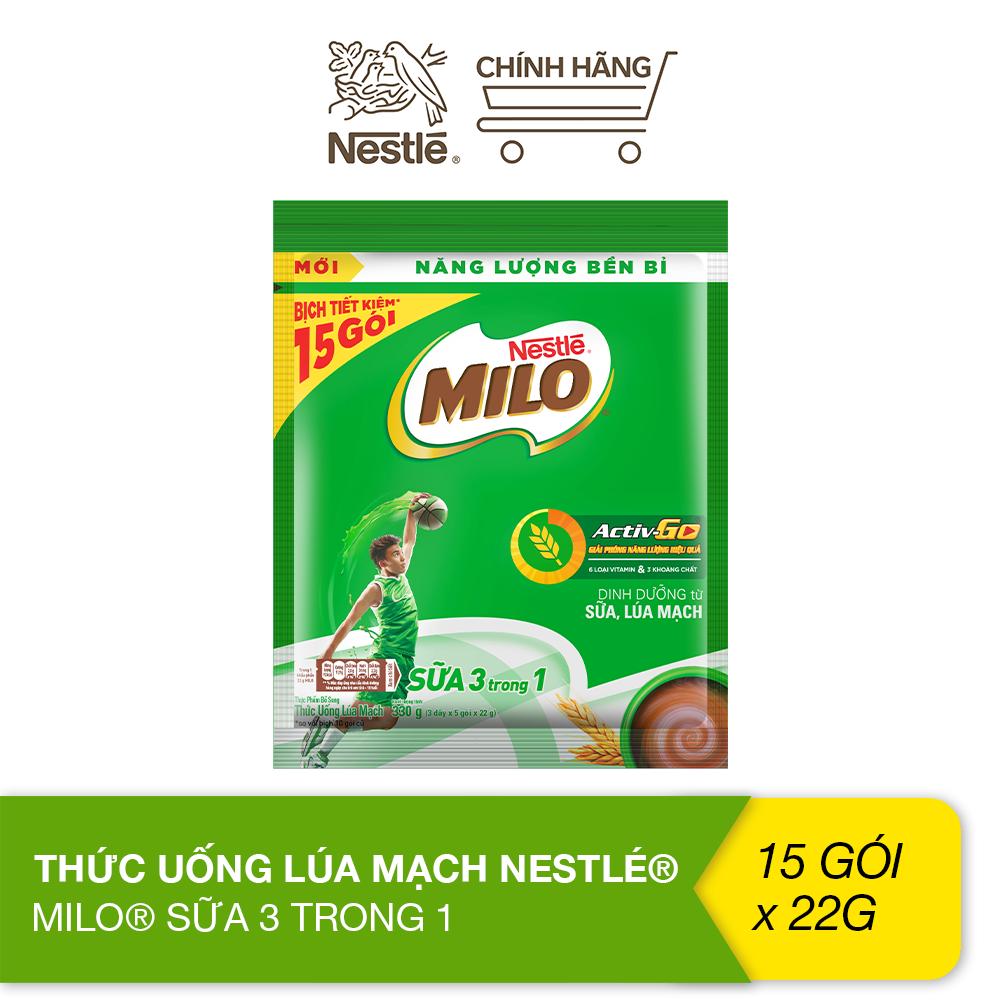 Thức uống lúa mạch Nestlé® Milo® sữa 3 trong 1 (bịch 15 gói 22g)