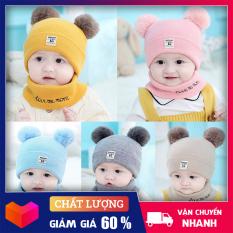 Mũ Len 2 Quả Bông Cho Bé ( Tặng Kèm Khăn Ống) – Nón len cho bé