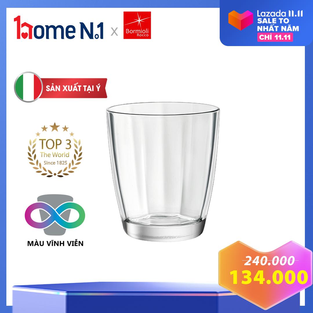 Bộ 6 ly nước thủy tinh Bormioli Pulsar – Dung tích 300 ml – Sản xuất tại Ý – Bền màu vĩnh viễn – Dùng được với máy rửa chén – Màu Trắng