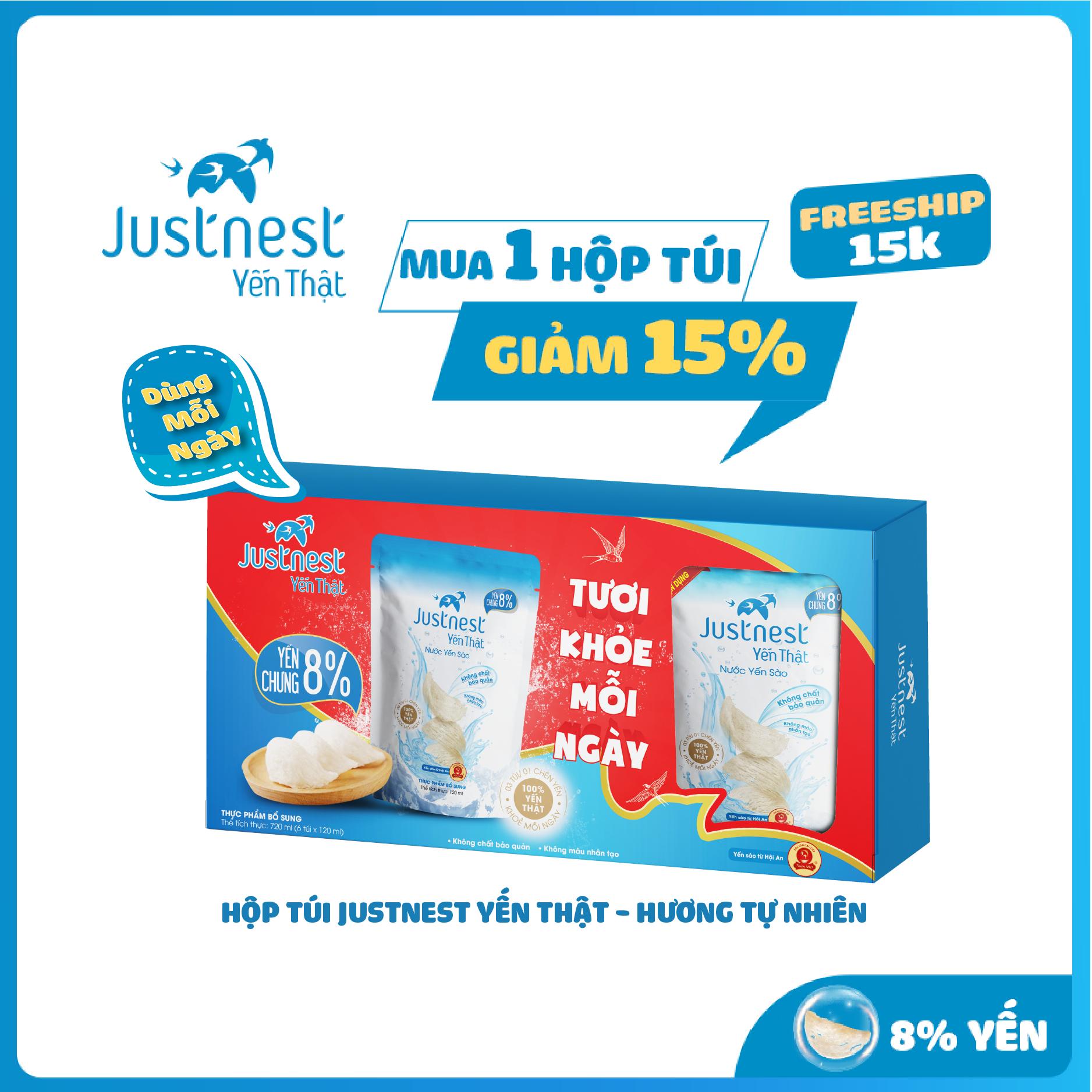 [Freeship 15K] Hộp túi Justnest Yến Thật 100% – Hương tự nhiên (6 túi x 120ml)