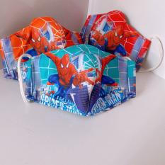 TANOSA Combo 2 Khẩu trang vải hoạt hình cho bé 3 lớp loại đẹp dày dặn nhiều mẫu siêu nhân, nhện, công chúa