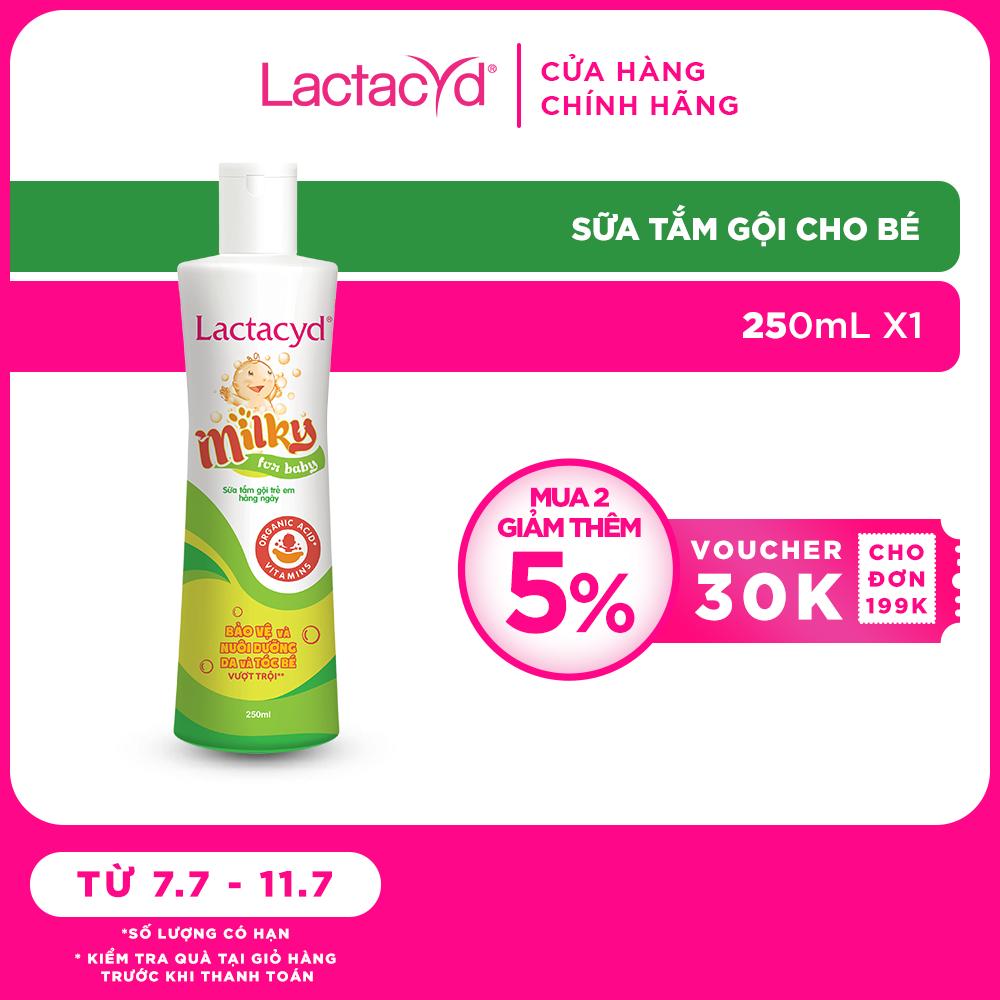 Sữa Tắm Gội Trẻ Em Lactacyd Milky Bảo Vệ, Nuôi Dưỡng Da và Tóc Bé Vượt Trội 250ml