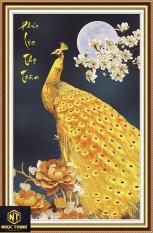Tranh đính đá chim công vàng Phúc Lộc Thọ Toàn Trọn ven mọi thứ phúc đức tài lộc và tuổi thọ Kt:76cmx50cm