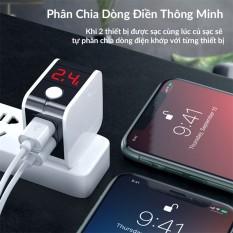 Củ Sạc Nhanh Đa Năng gấp ngọn Hoco HK5 Dual USB Chính Hãng – Cốc Sạc Tự Ngắt – Có Màn Hình LED