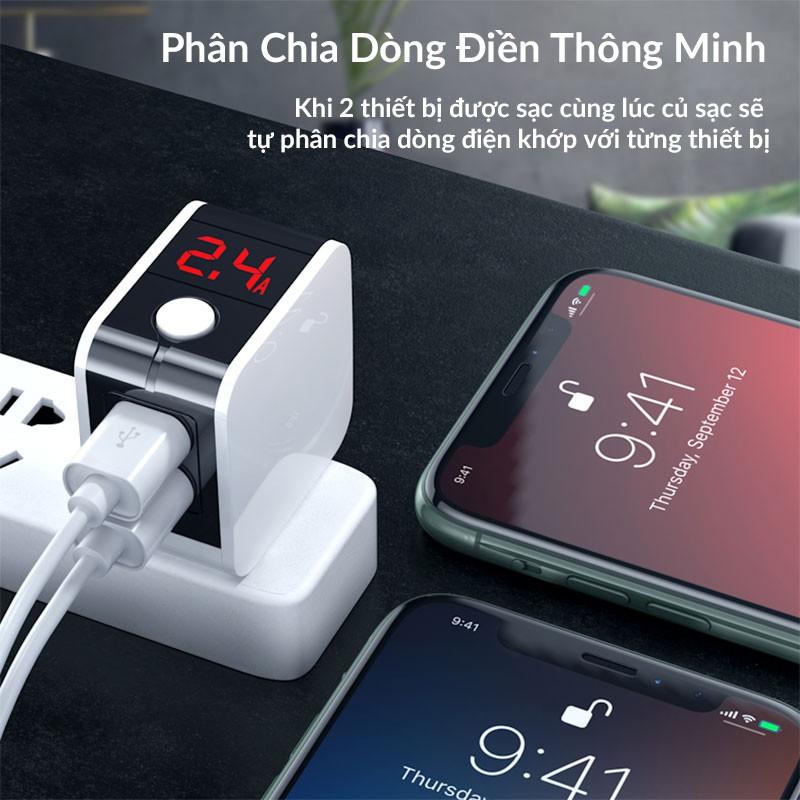 Củ Sạc Nhanh Đa Năng gấp ngọn Hoco HK5 Dual USB Chính Hãng - Cốc Sạc Tự Ngắt - Có...