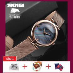 Đồng hồ nữ dây lưới không gỉ Skmei OT917-7G full gold sang trọng (TẶNG BOX, PIN, VÀ VÒNG TAY XINH XẮN)