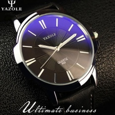 Đồng hồ nam dây da yazole 332 (Đen Bạc Đen)