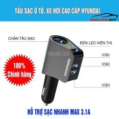 Tẩu Sạc ô tô, xe hơi Hyundai chính hãng – Có Đèn Led Báo Điện Áp Ắc Quy – Đầu ra 3 cổng USB, 1 cổng tẩu tròn
