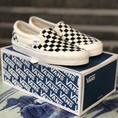 Giày thể thao Vans lười slip on caro checkerboard vault đen trắng nam nữ không dây( Full box)