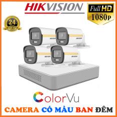 Bộ Camera Quan Sát Có Màu Ban Đêm Hikvision 4 Kênh Full HD 1080P – Trọn Bộ 4 Camera An Ninh Hikvision Quay Có Màu Ban Đêm Đầy Đủ Phụ Kiện Lắp Đặt